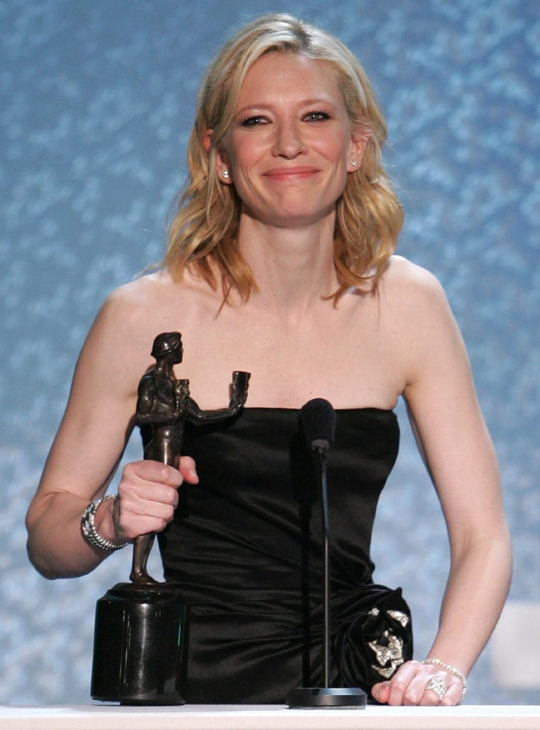 Blanchett smiles with her award at the 11th annual Screen Actors Guild awards