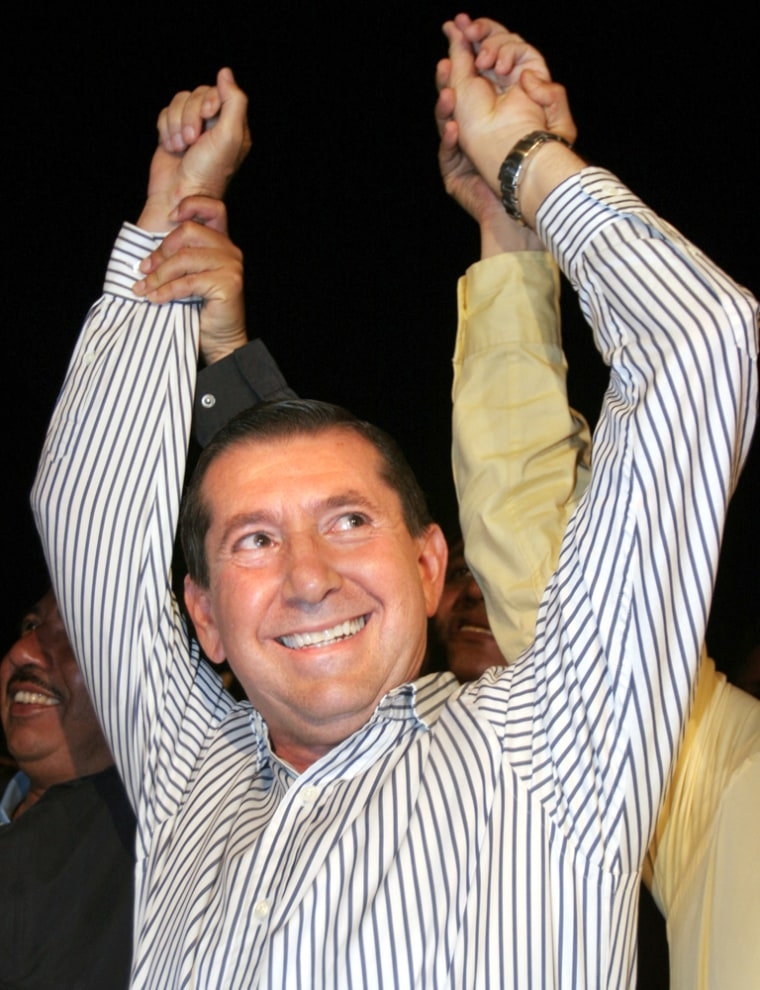 Zeferino Torreblanca of the Democratic Revolution Party celebrates victory Sunday in his election as governor of the state of Guerrero in Chilpancingo, Mexico.