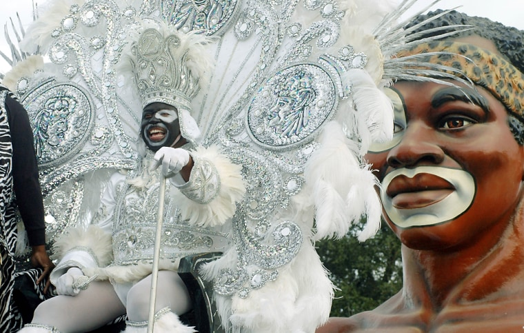 Wheeler rides as the King fo Zulu on Mardi Gras Day in New Orleans
