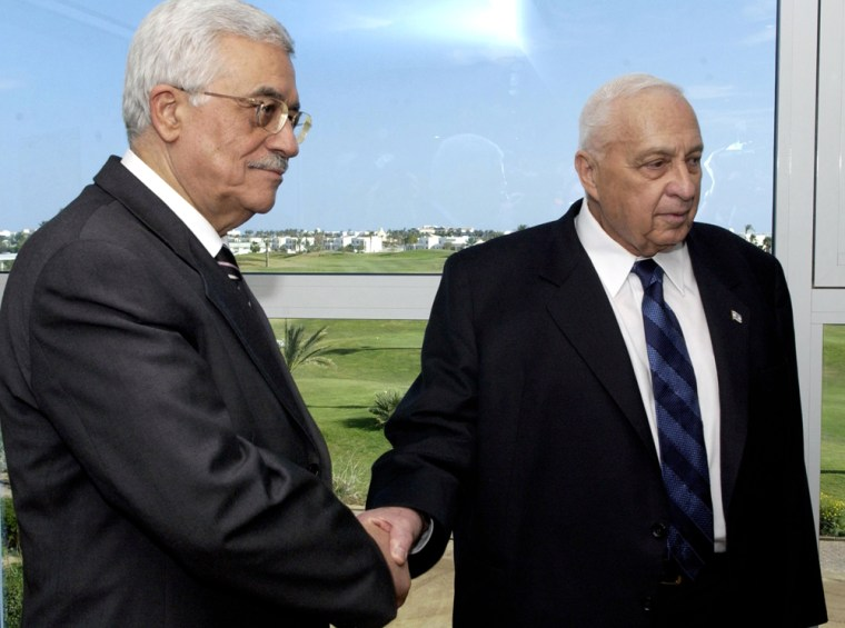 Palestinian President Abbas and Israeli Prime Minister Sharon during their meeting at Sharm el-Sheikh