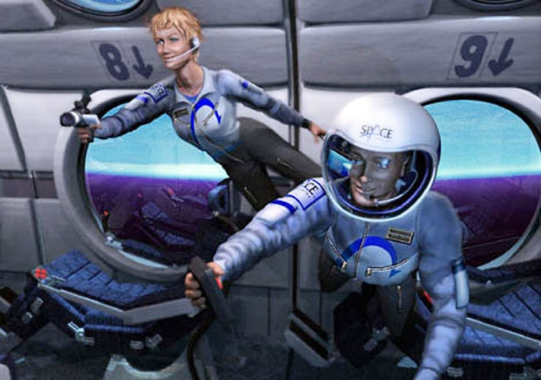 Suborbital spaceflights could give fliers a few minutes of weightlessness, as shown in this artist's conception. Such flights could be offered to the public by 2008 or so.