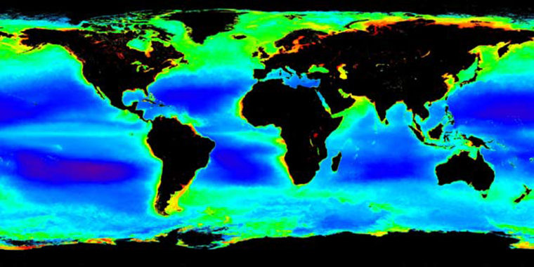 This visualization shows global chlorophyll concentrations. The data were gathered with the MODIS instrument on NASA's Aqua spacecraft between July 1, 2002, and Dec. 31, 2004.