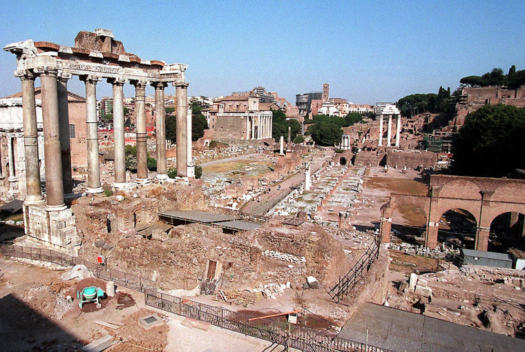 Ruins from antiquity rise from the Roman Forum. An archaeologist who has been conducting excavations at the Forum for more than 20 years says he has found traces of a royal palace dating back to 8th century B.C.