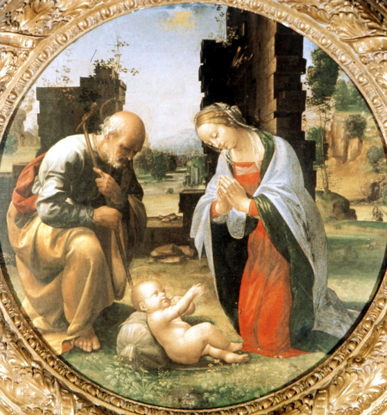 """The Adoration of the Christ Child'' dates to the end of the 15th century or the beginning of the 16th century. In the past, the painting has been attributed to Fra Bartolomeo, but restorers say that a centuries-old fingerprint found fixed in the paint could indicate that Leonardo da Vinci had a hand in creating the work."