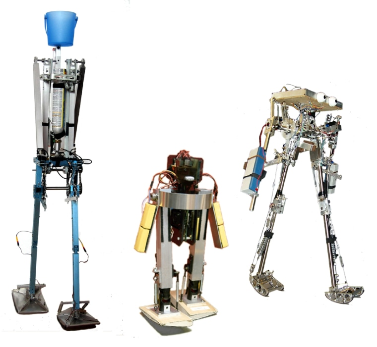 Robots created by Delft University, the Massachusetts Institute of Technology and Cornell University are lined up left to right. The contraptions use an energy-efficient, passive-dynamic technoology for walking.