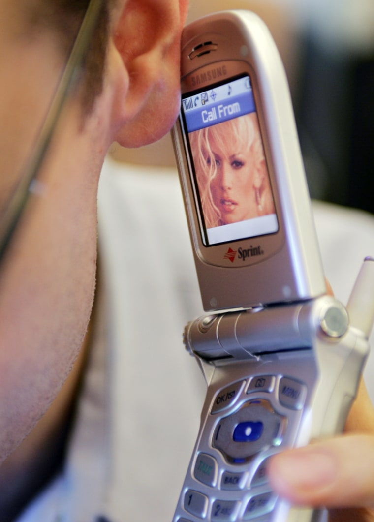 Cell phone displaying picture of porn star Jameson