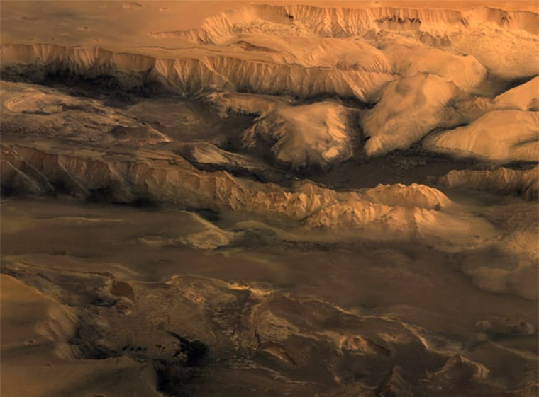 This perspective image, taken by the High Resolution Stereo Camera on board ESA's Mars Express spacecraft, shows the central part of the Valles Marineris canyon on Mars.