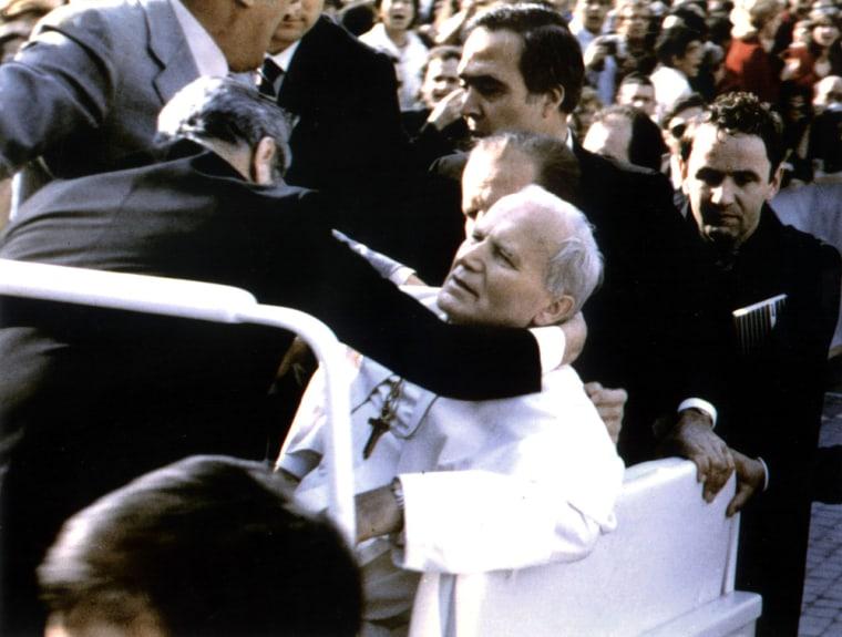POPE JOHN PAUL II LIES INJURED AFTER BEING SHOT BY TURKISH GUNMAN MEHMET ALI AGCA IN THIS 13MAY1981 FILE PHOTO