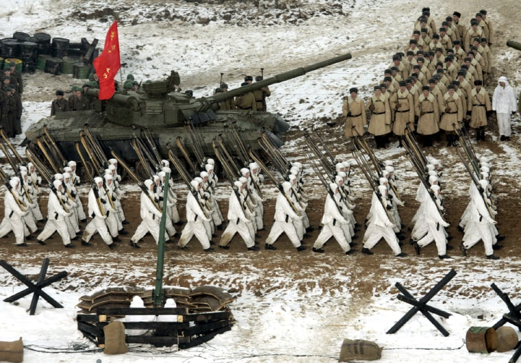 Russian Army soldiers marches during the military show reenacting the World War II Moscow defense