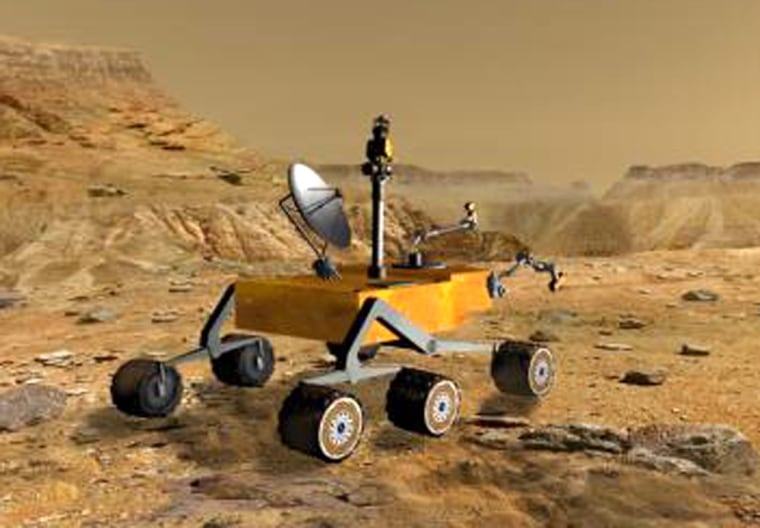 The Mars Science Laboratory, shown in this artist's conception and slated for launch in 2009, may shed more light on questions surrounding potential life on Mars.