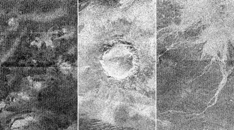 These radar images of Titan were taken by Cassini as it flew by the Saturn moon on Feb. 15. The image at left shows a complex of bright hills and ridges surrounded by a dark plain; the one in the center shows an impact crater about 60 kilometers (37 miles) in diameter. The image at right shows channels similar to what was found at the Huygens landing site.