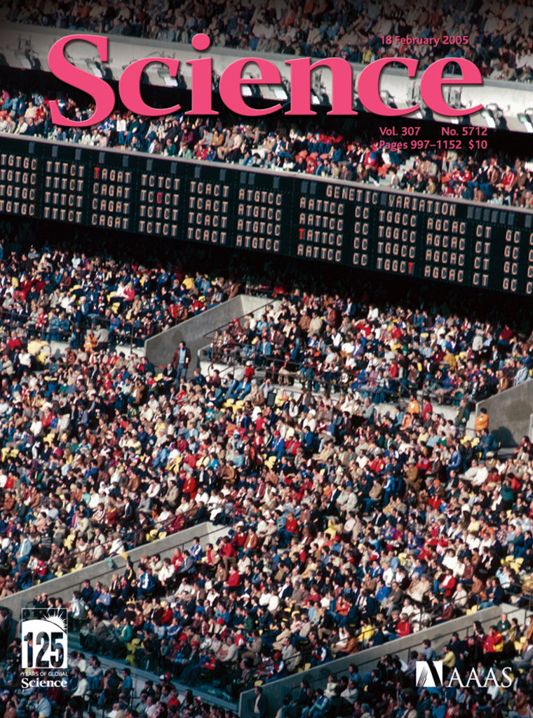 The cover of the journal Science highlights genetic diversity — with sections of DNA code displayed on a stadium scoreboard.