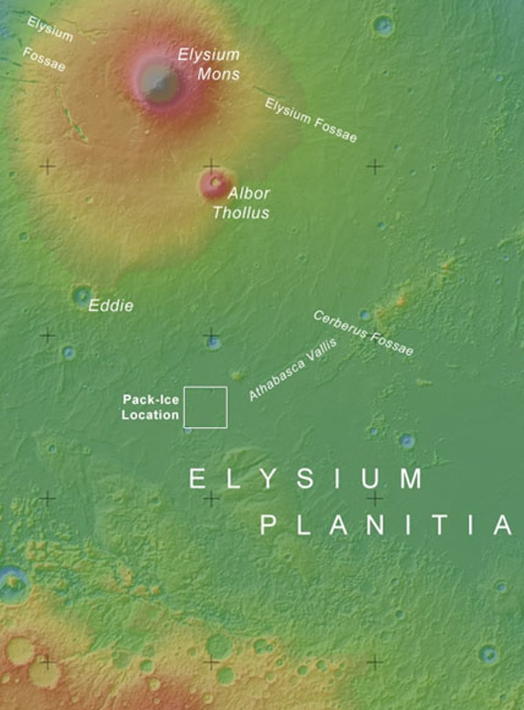 The square in this map of the Elysium region of Mars shows the area where large blocks of water ice are believed to be detected.