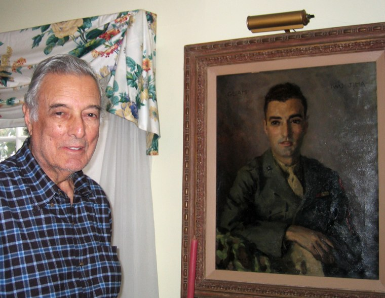Marine combat correspondent Alvin M. Josephy Jr. at his Greenwich, Conn., home,next to a portait painted shortly after his return from Iwo Jima.