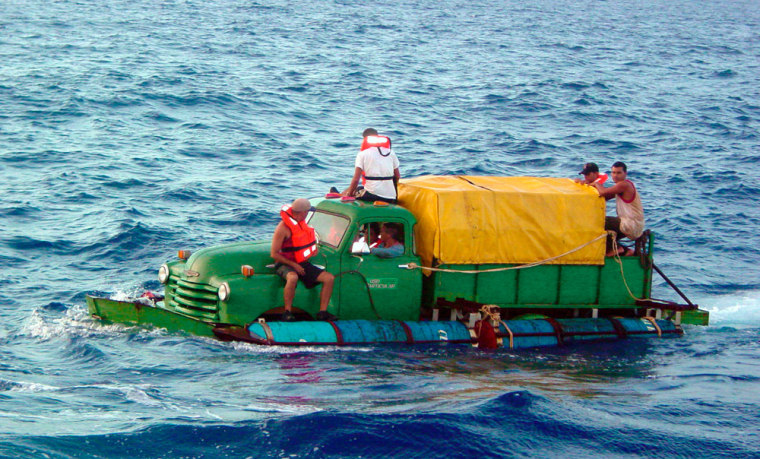The Grass family and several otherCuban migrants attempted to cross the Straits of Florida onJuly 16, 2003, in a boat fashioned out of a 1951 Chevy pickup,driving it within 40 miles of the United States before they were found by the U.S. Coast Guard and returned to Cuba.