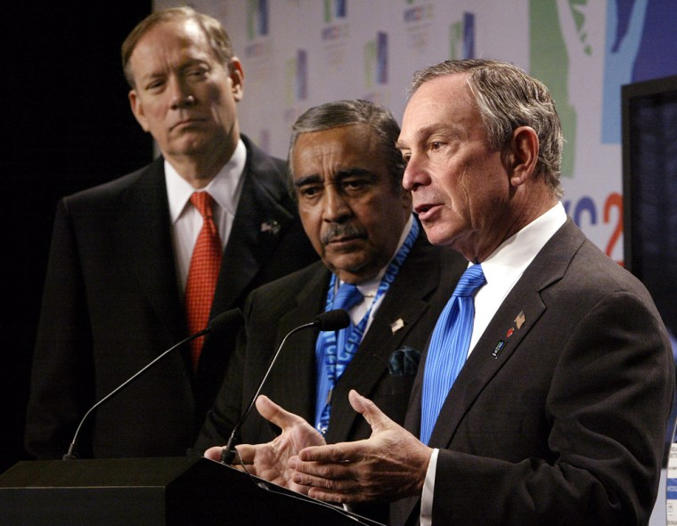Republican New York City Mayor Michael Bloomberg, right, speaking Wednesday about New York City's bid for the 2012 Olympics alongsideNew York Gov. George Pataki, left, andRep. Charles Rangel, D-N.Y., faces an election in November to keep his post in a city where Democratic registered voters outnumber Republicans 5-to-1.
