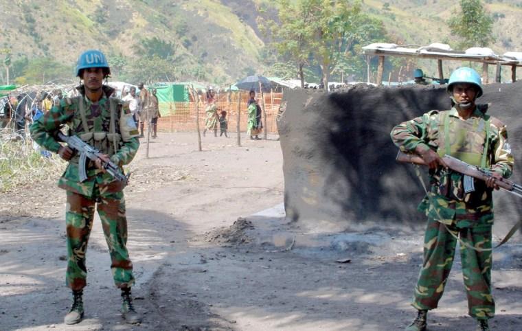MONUC Bangladeshi peacekeepers are seen during a patrol in Kafe, Ituri region in eastern Congo