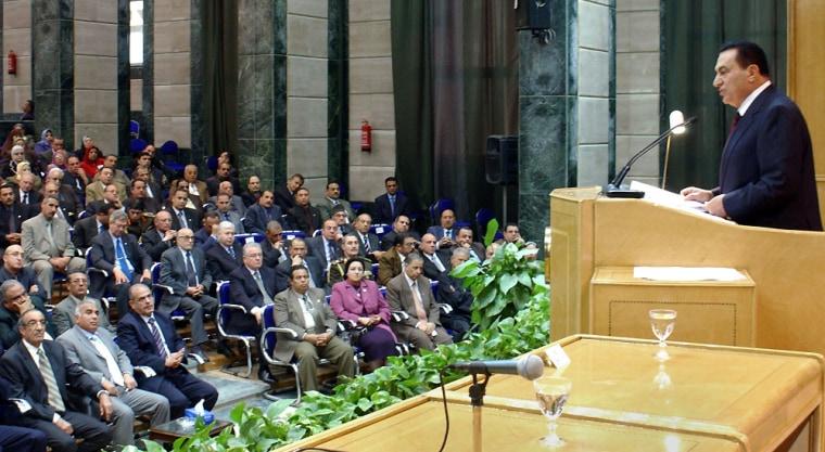Egyptian President Hosni Mubarak announces political reforms while at Menoufia University in Cairo, Egypt, onSaturday.