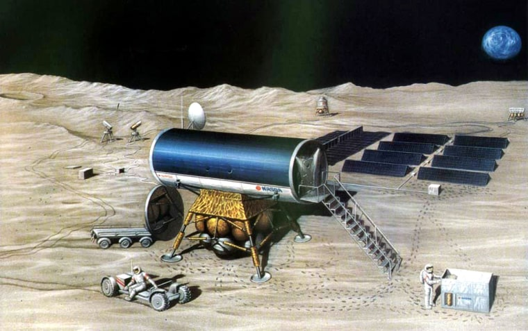 An artist's concept shows a Japanese moon base, surrounded by equipment.