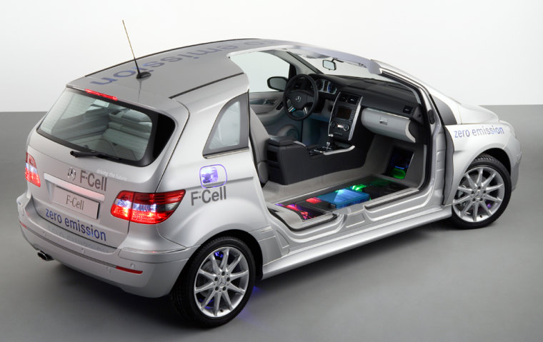 This illustration shows the Mercedes B-Class fuel cell car. The fuel cell stack is seen in blue, embedded into the chasis.