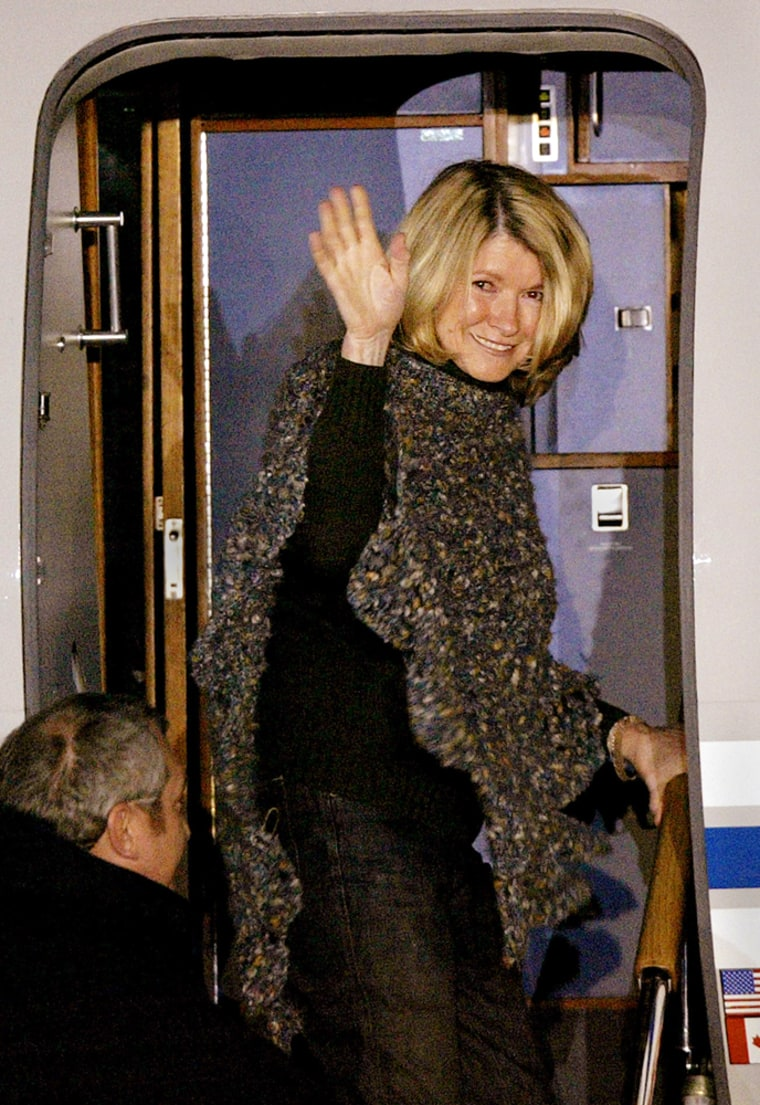 After being released from prisonMarch 4,Martha Stewart waves as she boards her jetat Greenbrier Valley Airport in Lewisburg, W. Va.