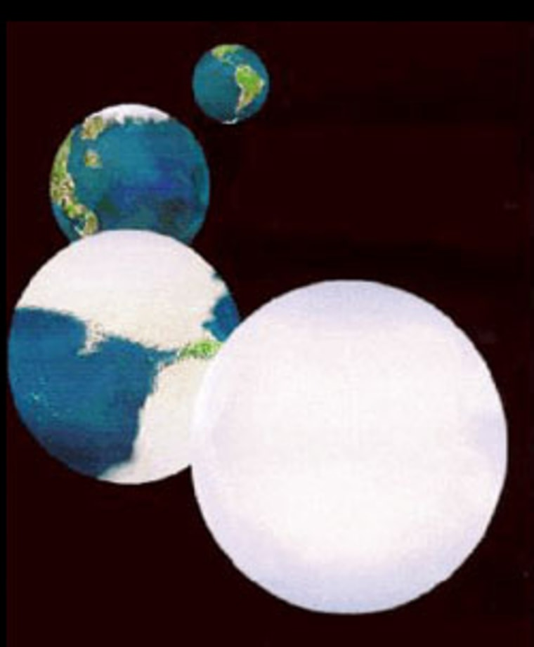 "An illustration shows the progression of a global ice sheet in what is known as the ""Snowball Earth"" scenario. Scientists speculate that such an event might have occurred when the solar system passed through a dense cloud of interstellar material."