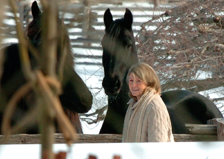 Martha Stewart spent time with her horses at her home in Katonah, N.Y., March 4, hours after being released from prison.