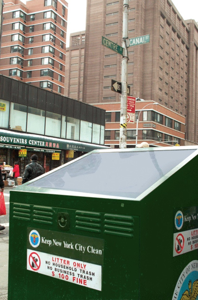 New York City is testing this BigBelly trash can and compactor at various locations. The unit compacts trash using power from solar cells on top.
