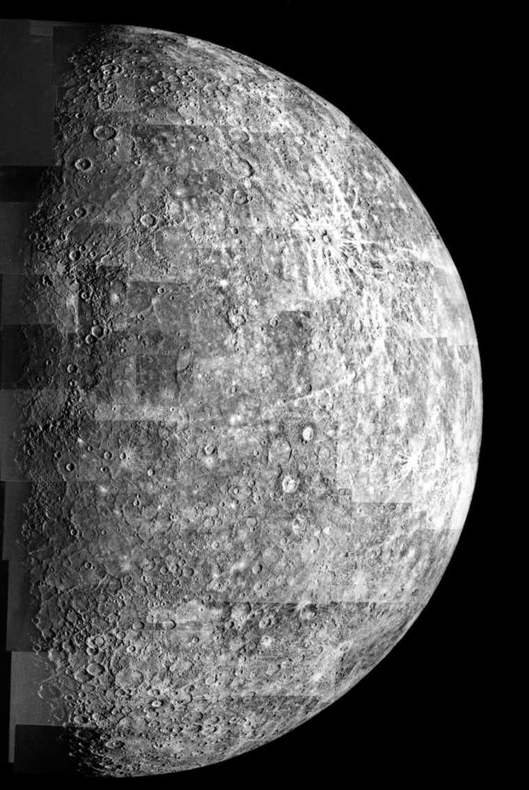 A mosaic of images from the Mariner 10 probe, sent back to Earth in 1974, shows the heavily cratered surface of the planet Mercury.