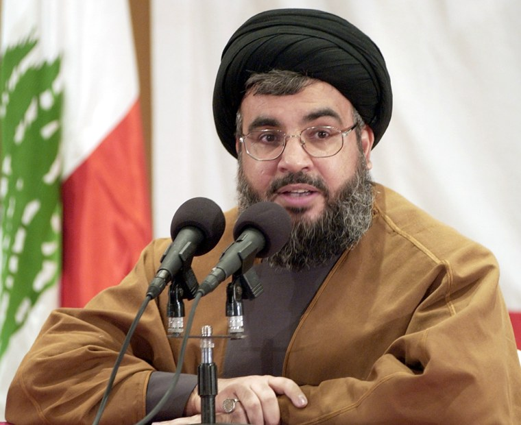 Sheik Hassan Nasrallah, leader of Hezbollah, speaks during a Sunday press conference in Beirut, Lebanon. Nasrallah called for a peaceful demonstration Tuesday in central Beirut to show loyalty to Syria. But as the Syrian army is being driven out of Lebanon under international pressure, the militant group is feeling pressure as well.