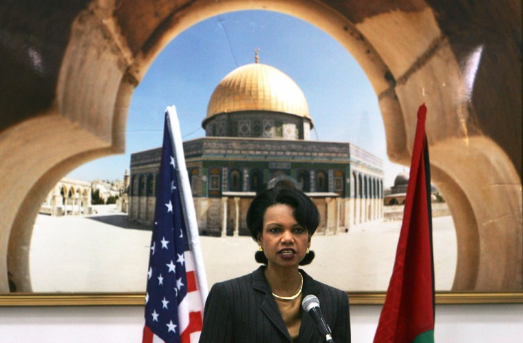 Condoleezza Rice Meets Mahmoud Abbas In Ramallah