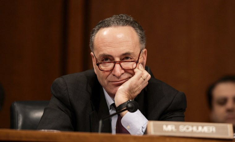 "Sen. Charles Schumer, D- N.Y. accused GOP leaders Monday of ""twisting arms"" to try to kill his amendment."