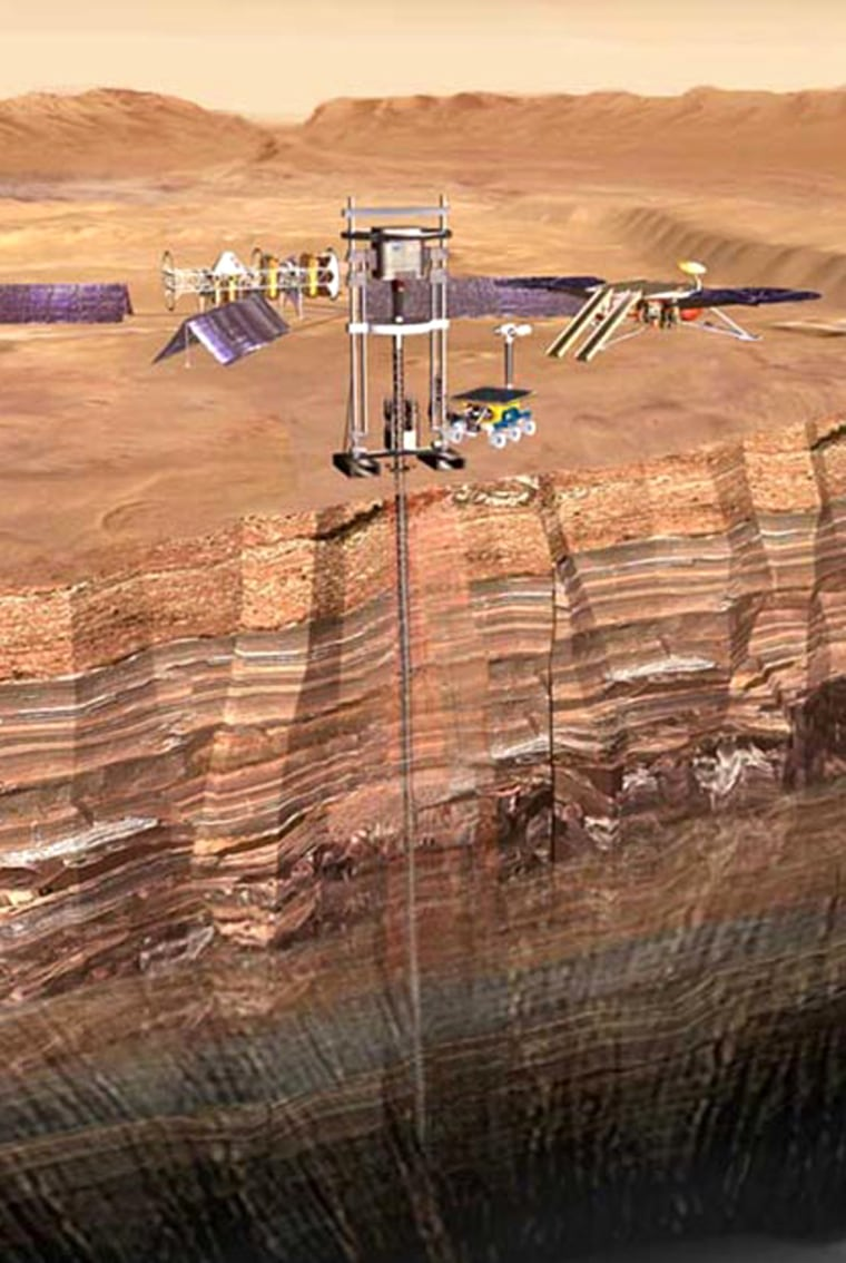 An artist's conception shows a drilling operation designed to probe Mars' deep subsurface. Astrobiologists say microbes could find asuitable environment in caves or even rock fractures, protected from ultraviolet radiation.