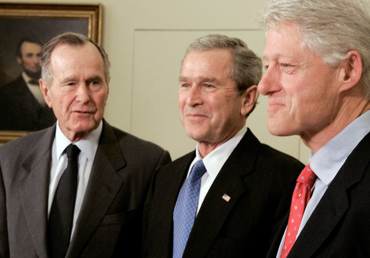 President Bush Meets With Former Presidents George Bush And Bill Clinton