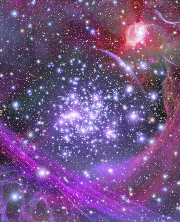 This artist's impression shows how the Arches star cluster would look from the center of our galaxy.