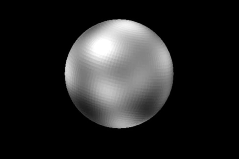 This computer-enhanced picture, based on imagery from the Hubble Space Telescope, represents the best effort to show Pluto's surface features.