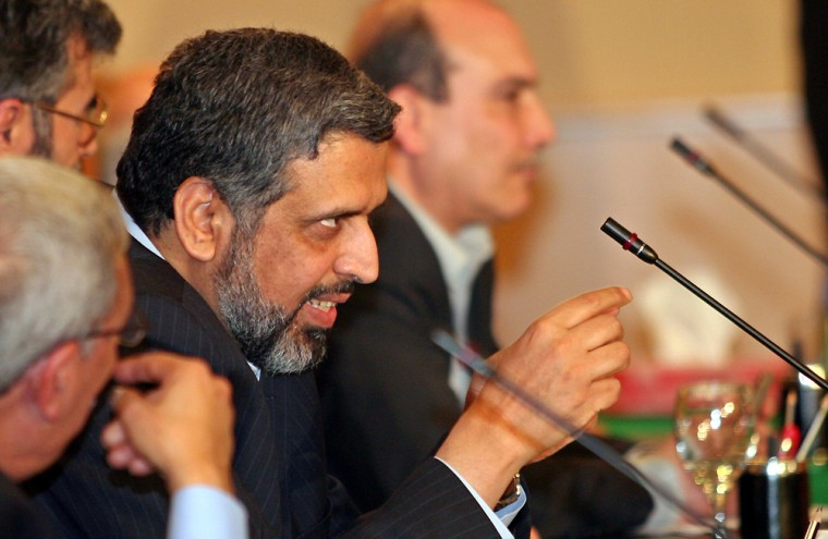 Ramadan Shalah, a high official of the Islamic Jihad, speaks during a meeting of Palestinian factions in Cairo, Egypt