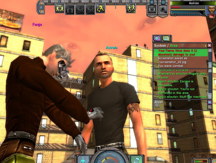 """A non-player character named Forge, at left,givessome advice to Astrolo, Alan's virtual-reality persona in """"The Matrix Online.""""Windows offera chat transcript and status reports."""