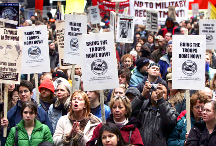 Thousands of anti-war activists gather in Federal Plaza in Chicago, Saturday, to mark the second anniversary of the start of the war in Iraq.