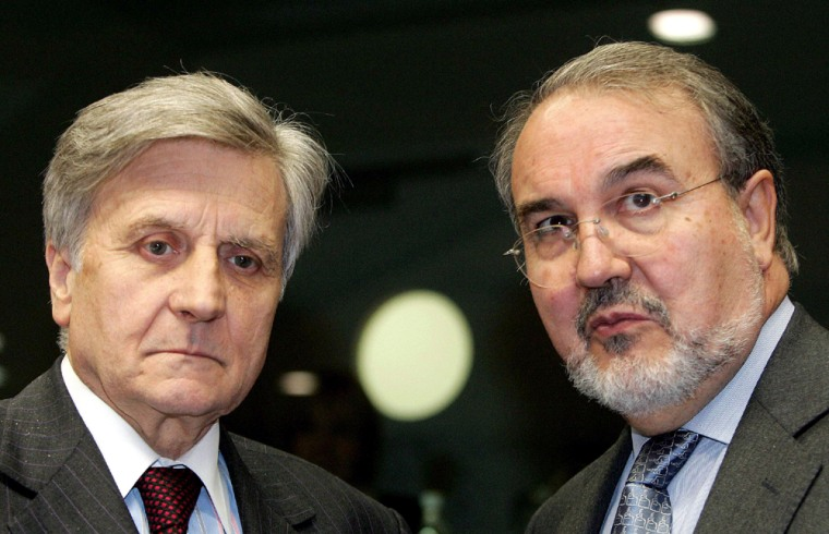 ECB President and Spanish Finance Minister Solbes attend a EU finance ministers meeting in Brussels