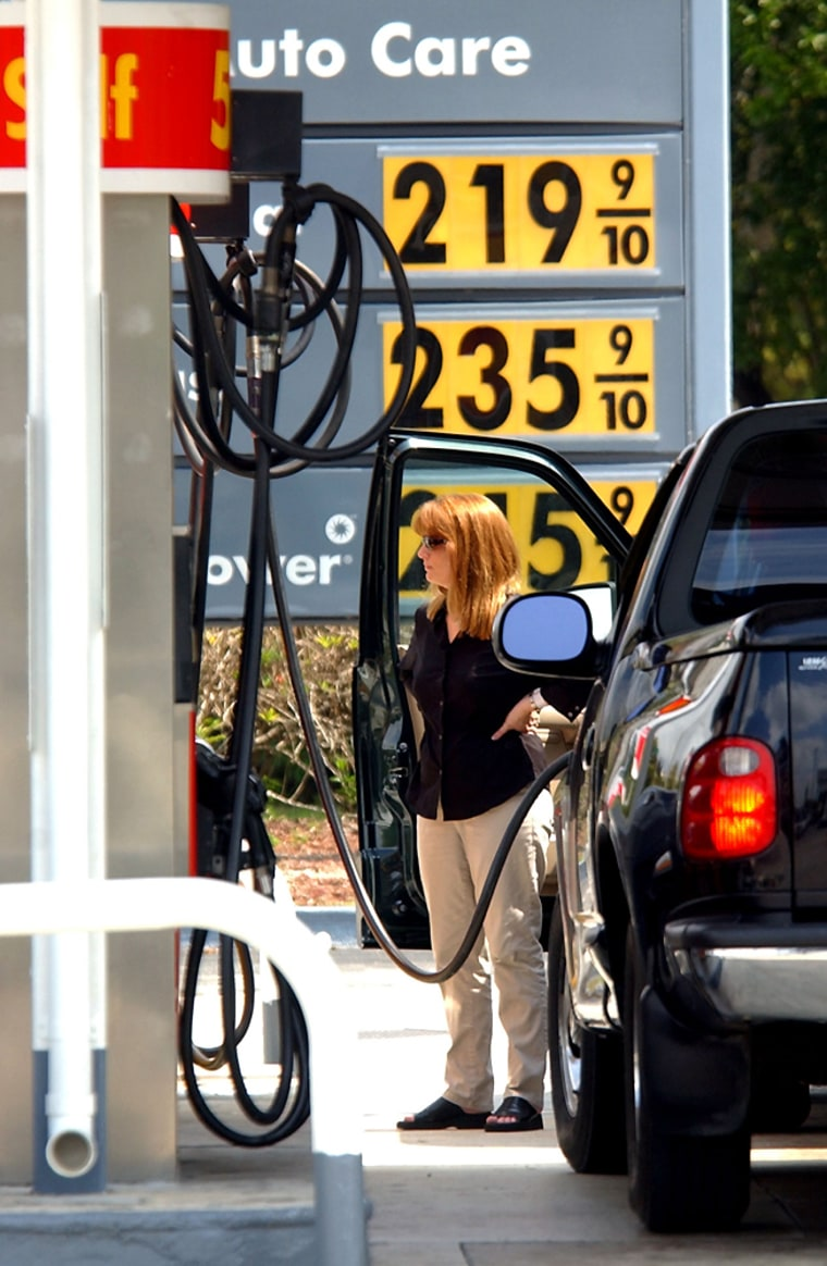 The average retail price for regular unleaded gasoline hit a record high of $2.109 a gallon, the government said Monday, up 5.3 cents over the last week.