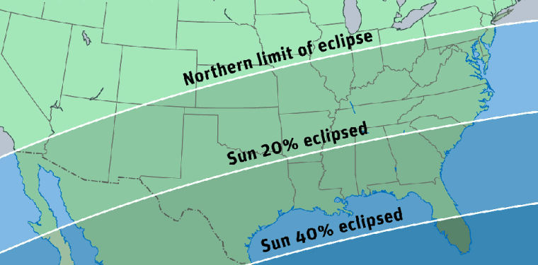 Skywatchers across much of the southern United States can witness a slight partial eclipse of the sun on April 8. This chart shows how much of the sun's disk will be eclipsed in different parts of the United States.