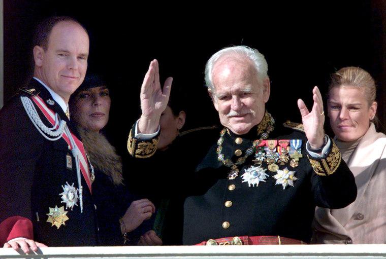 File photo of Prince Rainier waving in Monte Carlo