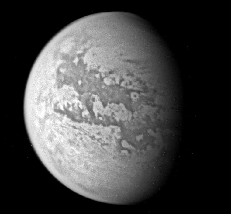 A composite image, based on infrared data sent back from the Cassini orbiter over the past week, shows a different side of the Saturnian moon Titan.