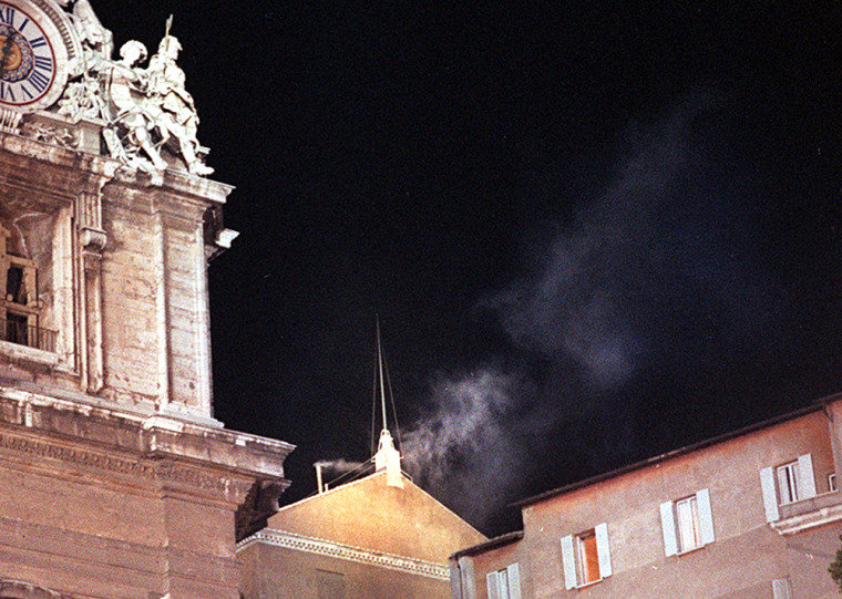 White smoke wafting from the chimney of the Sistine Chapel at the Vatican on Oct. 16, 1978, symbolized the election as pope of Cardinal Karol Wojtyla, who was called Pope John Paul II.