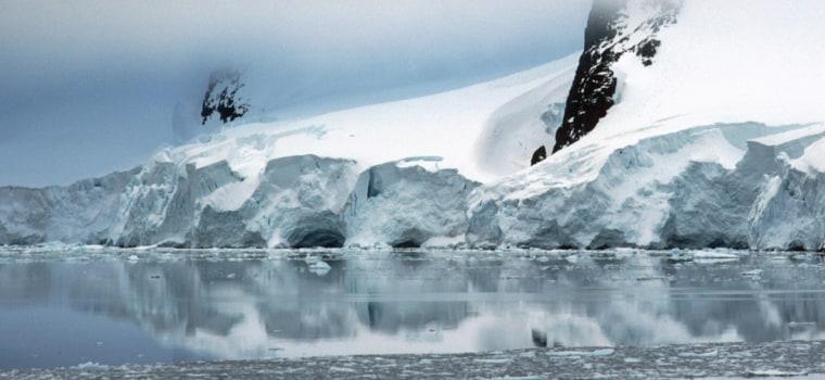 A glacier looms off the coast of the Antarctic Peninsula.