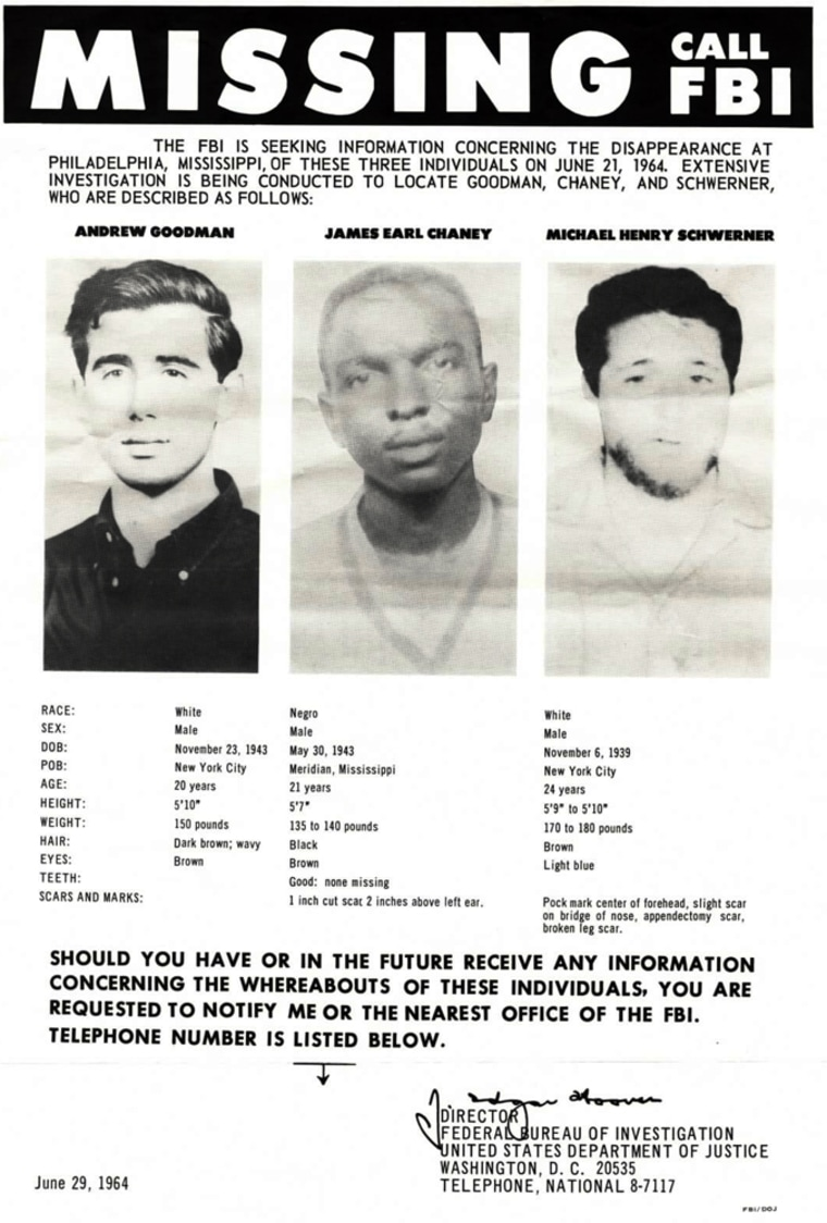 The FBI distributed this poster in June 1964 announcing the disappearance of Goodman, Chaney and Schwerner. Their murders galvanized the civil rights movement.