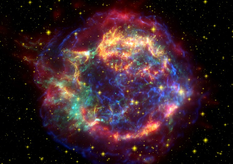 This composite false-color image shows the Cassiopeia A supernova remnant as seen by NASA's great observatories: Hubble in visible light (yellow), Chandra in X-rays (blue), and Spitzer in infrared (red).