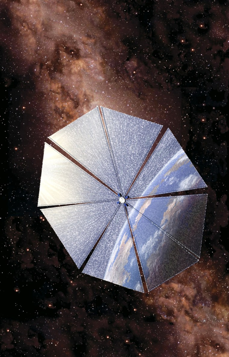 Artists conception of spacecraft Cosmos 1 set to launch June 21, 2005