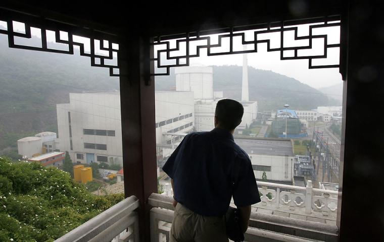 A man looks out toward the Qinshan Nucle